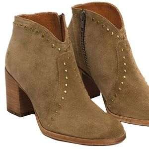 Frye suede ankle booties with stud details